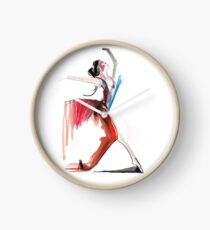 Expressive Ballerina Dance Drawing Clock
