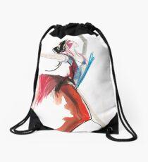 Expressive Ballerina Dance Drawing Drawstring Bag