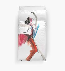 Expressive Ballerina Dance Drawing Duvet Cover