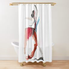 Expressive Ballerina Dance Drawing Shower Curtain