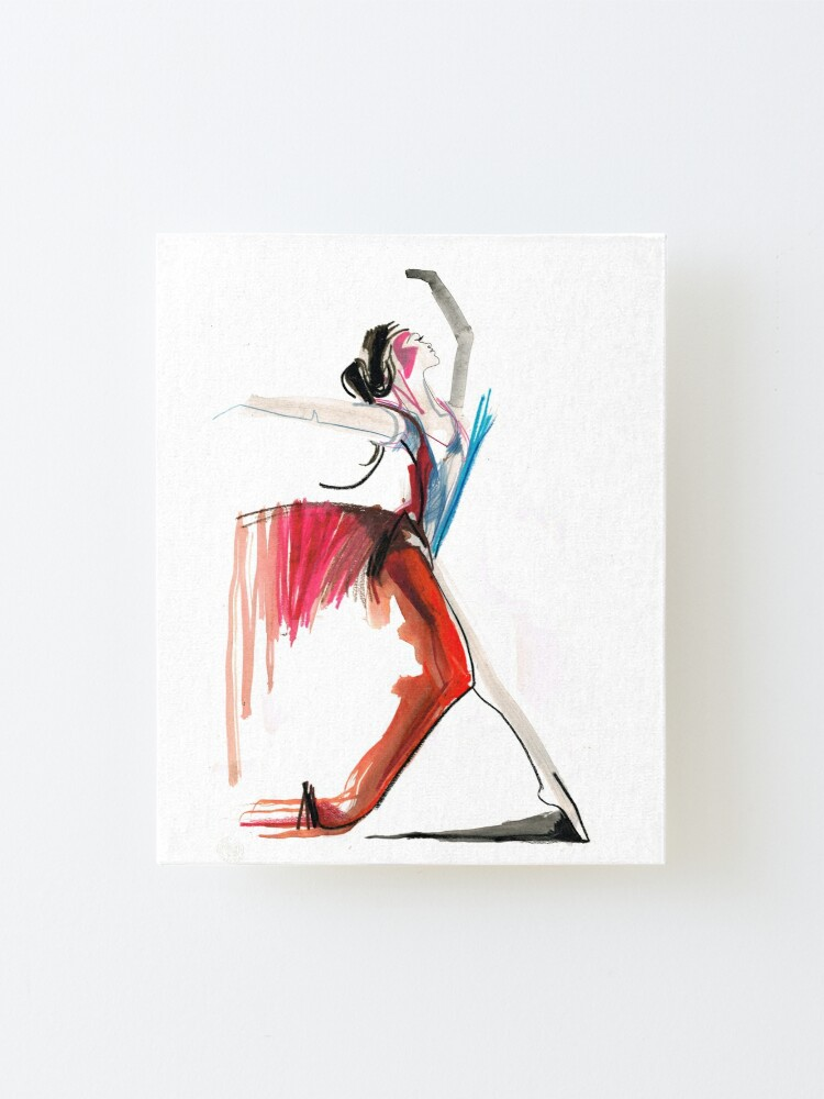 Alternate view of Expressive Ballerina Dance Drawing Mounted Print