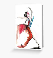 Expressive Ballerina Dance Drawing Greeting Card