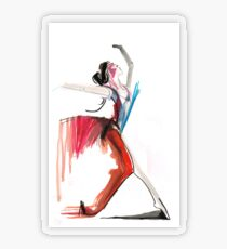 Expressive Ballerina Dance Drawing Transparent Sticker