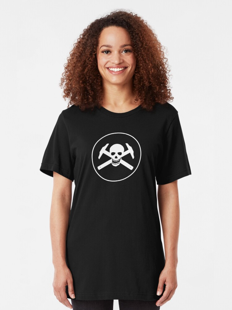 Alternate view of Architectural Jolly Rogers w/ circle - White Image Slim Fit T-Shirt