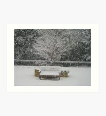Lonely bench in snow Woking Surrey Art Print