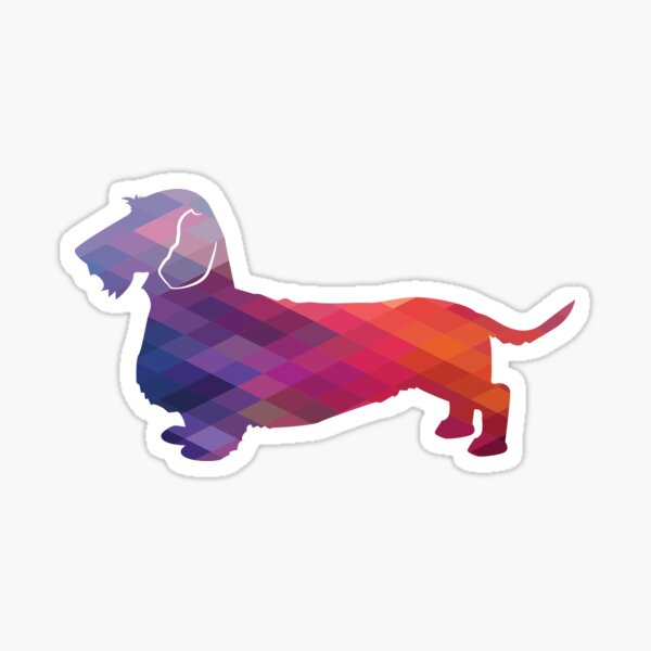 Rough Dachshund Dog Breed Silhouette Filled with Geometric Pattern in Purple Sticker