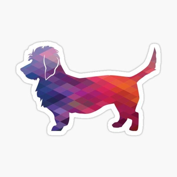 Dandie Dinmont Terrier Dog Breed Silhouette Geometric Pattern in Purple Sticker