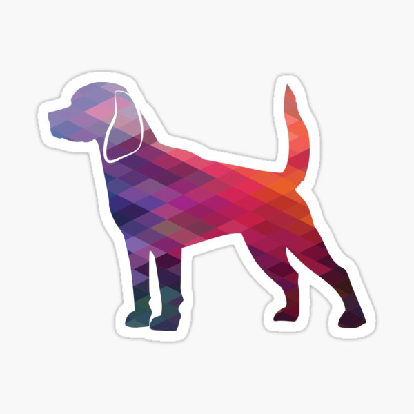 Beagle Dog Breed Silhouette Filled with Geometric Pattern in Purple Sticker