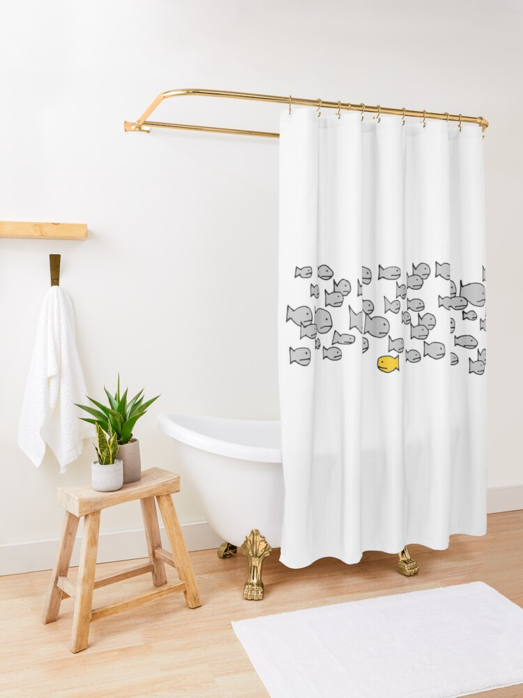 Alternate view of Be Different - School of Fish Shower Curtain