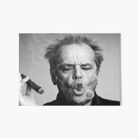 Jack Nicholson, Cigar, Smoke Rings, Black and White Photography Art Board Print