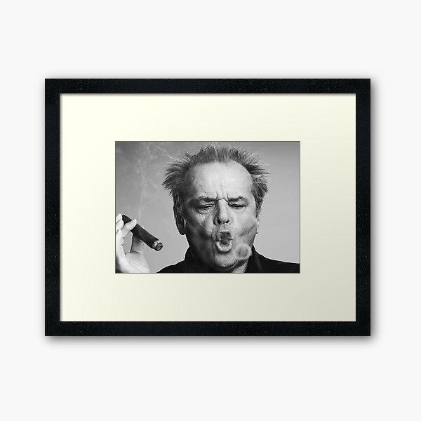 Jack Nicholson, Cigar, Smoke Rings, Black and White Photography Framed Art Print