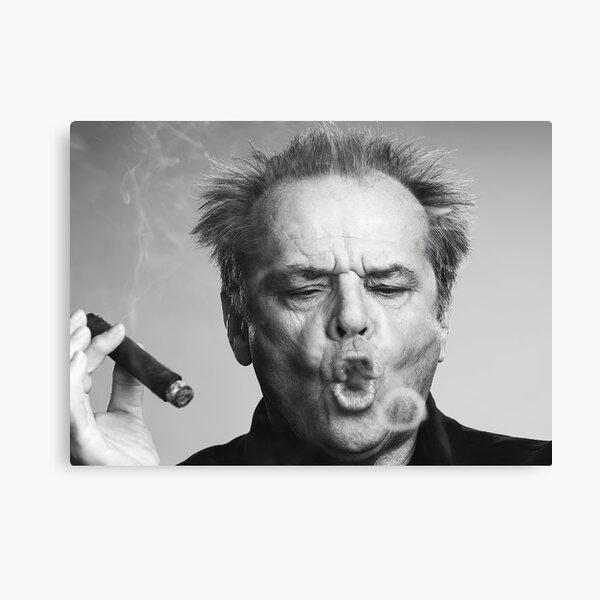 Jack Nicholson, Cigar, Smoke Rings, Black and White Photography Canvas Print