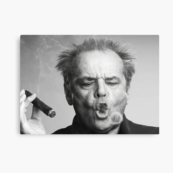 Jack Nicholson, Cigar, Smoke Rings, Black and White Photography Metal Print