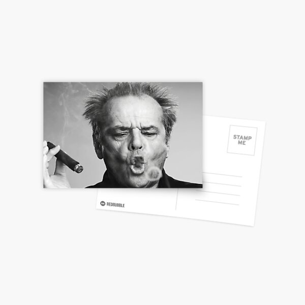 Jack Nicholson, Cigar, Smoke Rings, Black and White Photography Postcard