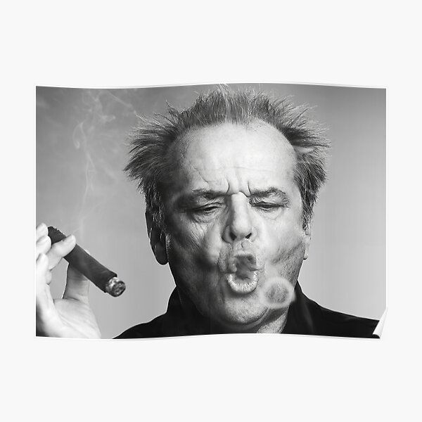 Jack Nicholson, Cigar, Smoke Rings, Black and White Photography Poster