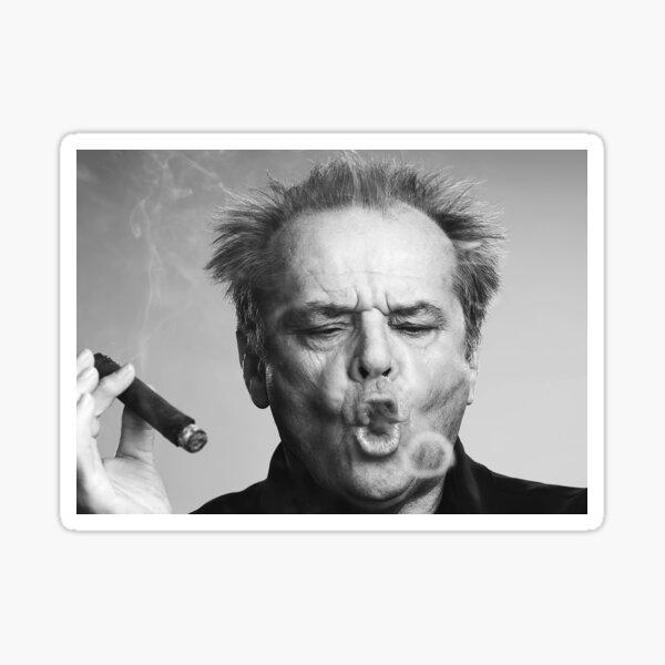 Jack Nicholson, Cigar, Smoke Rings, Black and White Photography Sticker