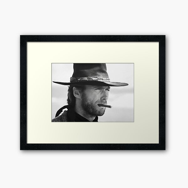 Clint Eastwood, Cigar, Black and White Photography Framed Art Print