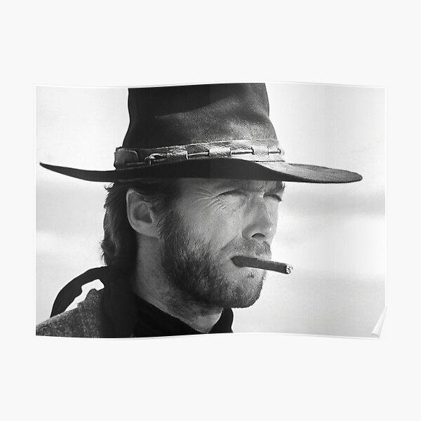 Clint Eastwood, Cigar, Photographie noir et blanc Poster