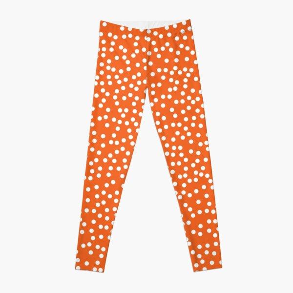 Elegant Persimmon and White Polka Dots Leggings
