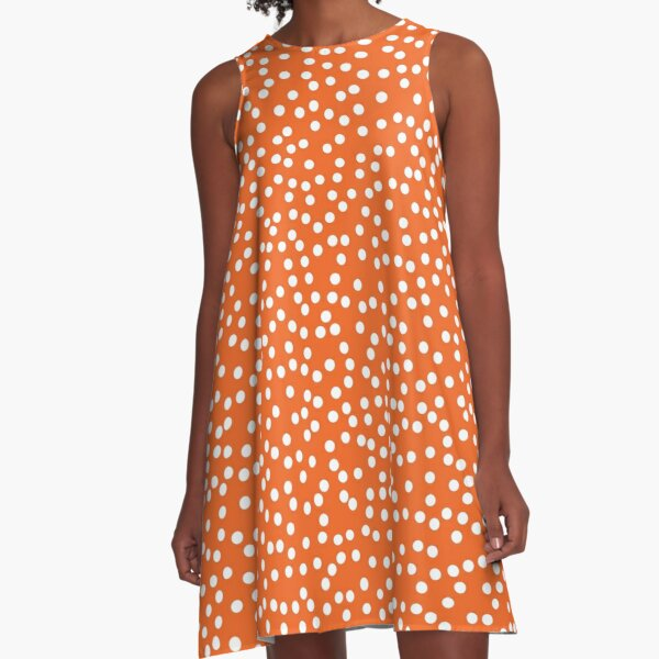 Elegant Persimmon and White Polka Dots A-Line Dress