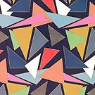 Modern Contemporary Gold Strokes Colorful Triangles by InovArtS