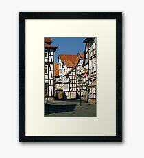 Timber Framed houses, Melsungen, Germany, 1980s. Framed Print