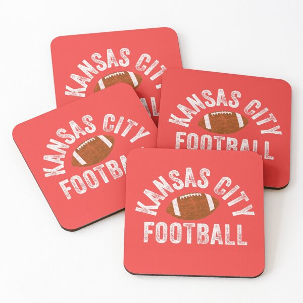 Kansas City Football Tribal KC Vintage football Kc Classic KC Face mask Kansas City facemask Coasters (Set of 4)
