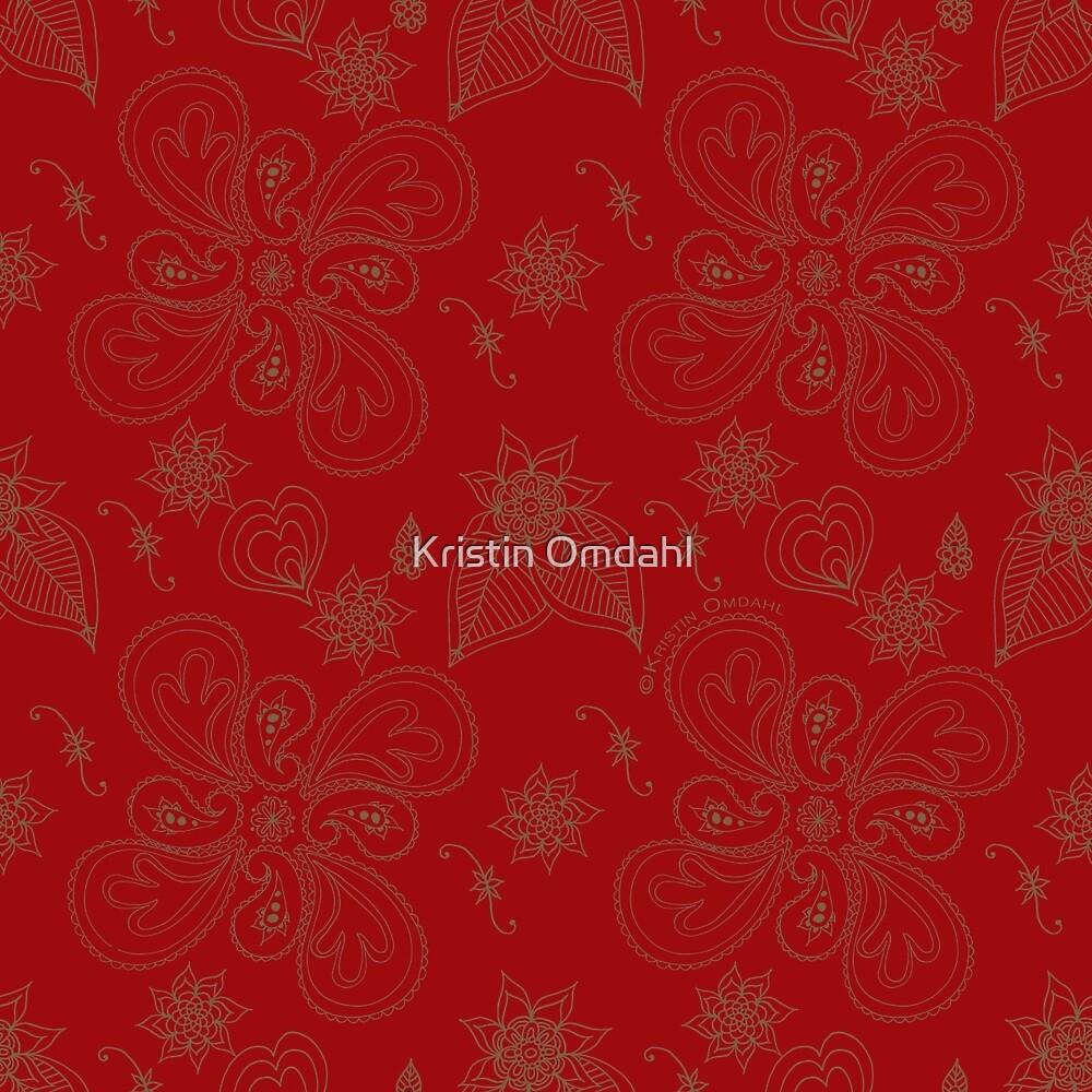 Dark Red Paisleys by Kristin Omdahl