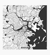 Boston Map Gray Photographic Print