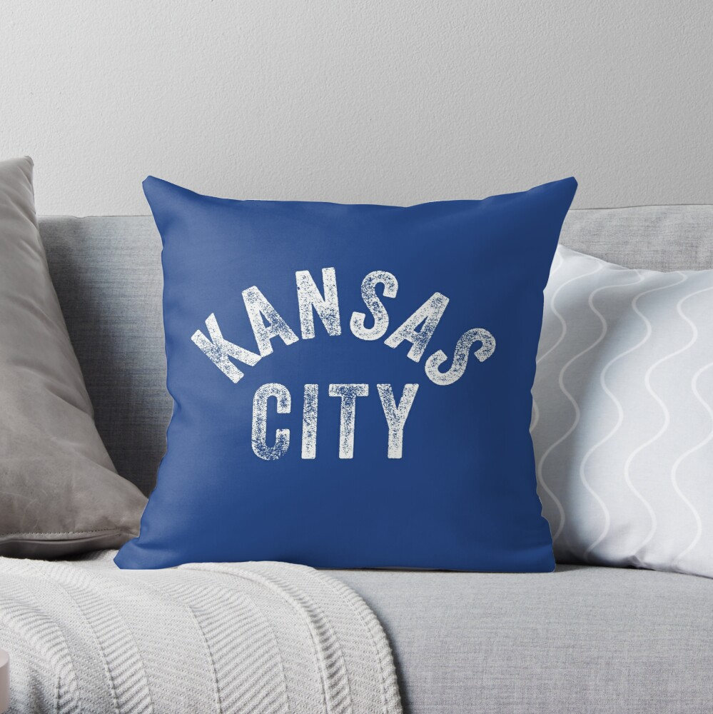 KC Royal Blue Classic Kansas City Vintage Local Kc Baseball Fan Gear Kansas city KC Face mask Kansas City facemask Throw Pillow
