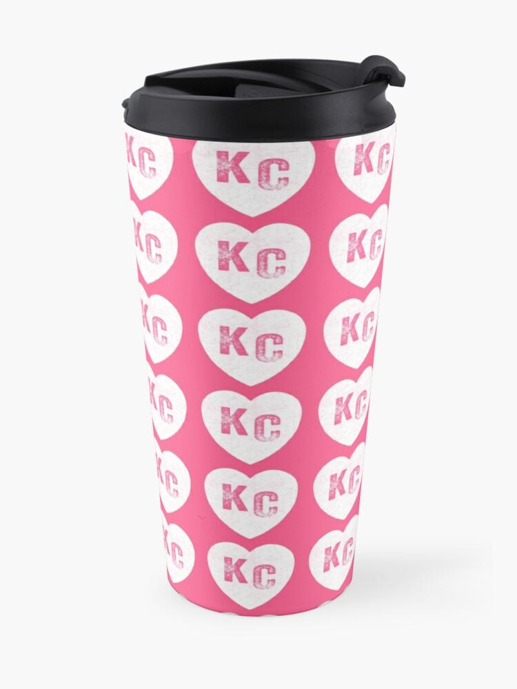 Alternate view of Pink Kansas City KC Heart Collection I Love Kc Hearts KC Face mask Kansas City facemask Travel Mug