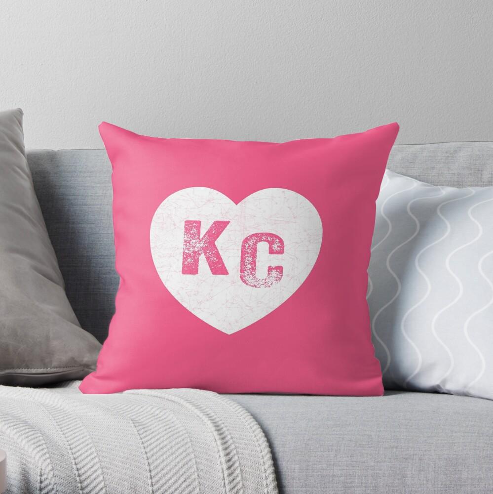 Pink Kansas City KC Heart Collection I Love Kc Hearts KC Face mask Kansas City facemask Throw Pillow