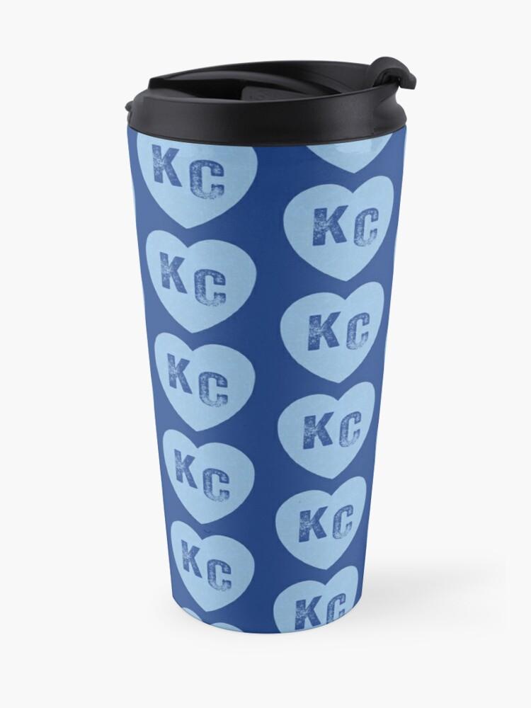 Alternate view of Baby Blue KC Heart Kansas City Hearts I Love Kc heart Kansas city KC Face mask Kansas City facemask Travel Mug