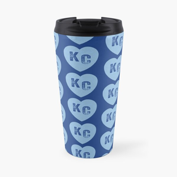 Baby Blue KC Heart Kansas City Hearts I Love Kc heart Kansas city KC Face mask Kansas City facemask Travel Mug
