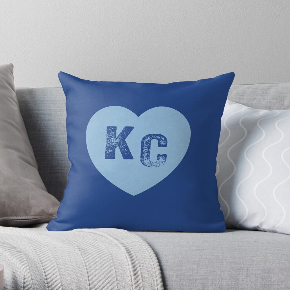 Baby Blue KC Heart Kansas City Hearts I Love Kc heart Kansas city KC Face mask Kansas City facemask Throw Pillow