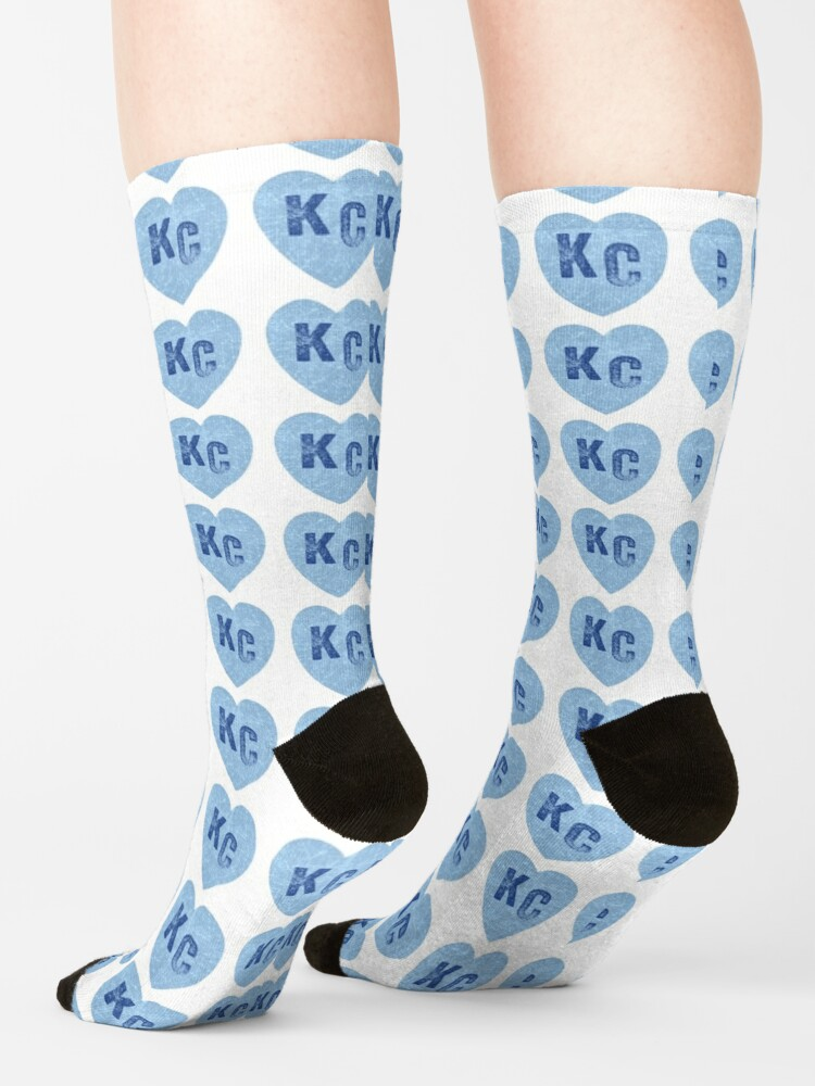 Alternate view of Baby Blue KC Heart Kansas City Hearts I Love Kc heart Kansas city KC Face mask Kansas City facemask Socks