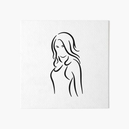 Powerful Lady Minimalist Line Drawing Art Board Print
