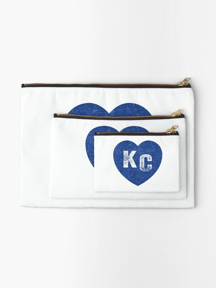 Alternate view of Royal Blue KC Blue Heart Kansas City Hearts I Love Kc heart Kansas city KC Face mask Kansas City facemask Zipper Pouch