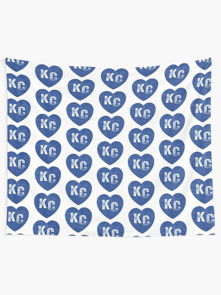 Alternate view of Royal Blue KC Blue Heart Kansas City Hearts I Love Kc heart Kansas city KC Face mask Kansas City facemask Tapestry