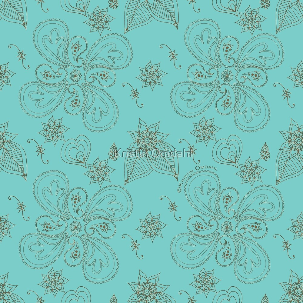 Pale Green Cyan Paisleys by Kristin Omdahl