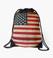 Vintage American Flag Drawstring Bag