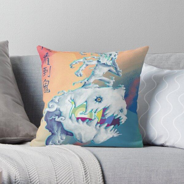Takashi Murakami-Style Art, KIDS SEE GHOSTS Throw Pillow