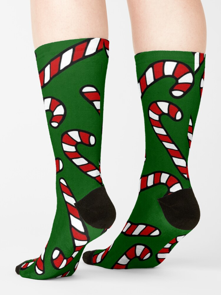 Alternate view of Candy Cane Pattern Dark Green Socks