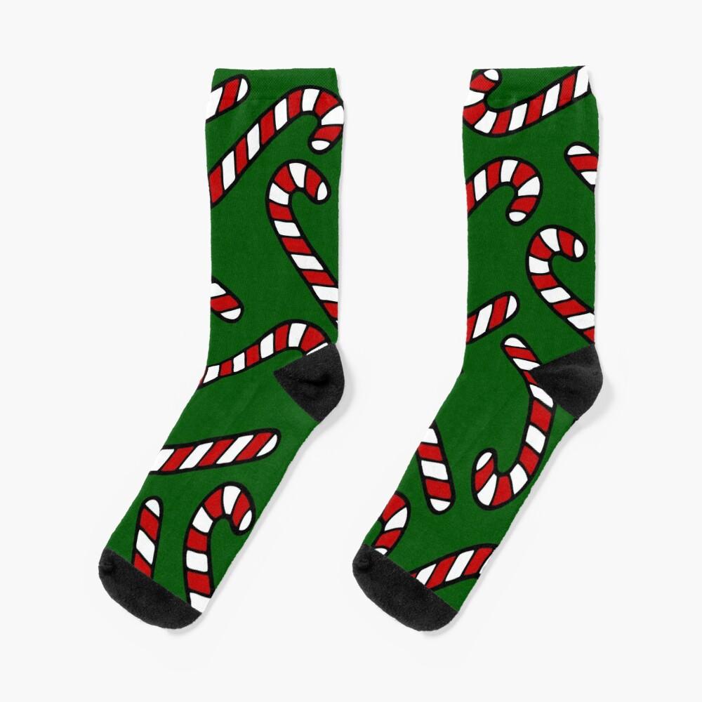 Candy Cane Pattern Dark Green Socks