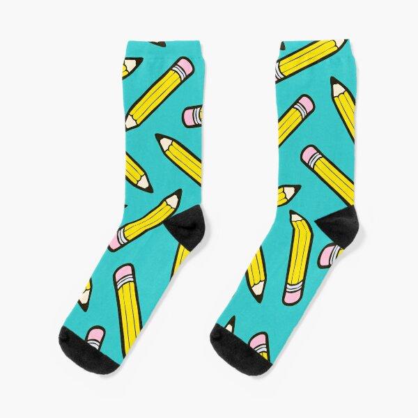 Pencil Power Blue Pattern Socks