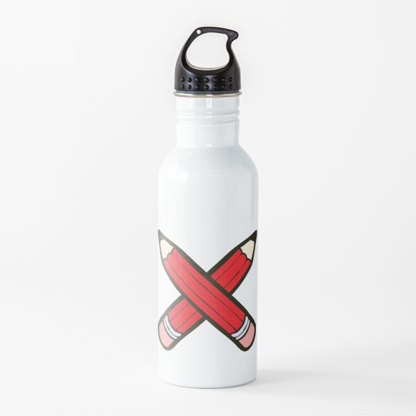 Pencil Power Red Pattern Water Bottle