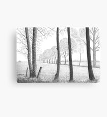 WINTER IN THE DUTCH COUNTRY SIDE PEIZE - PEN DRAWING Canvas Print