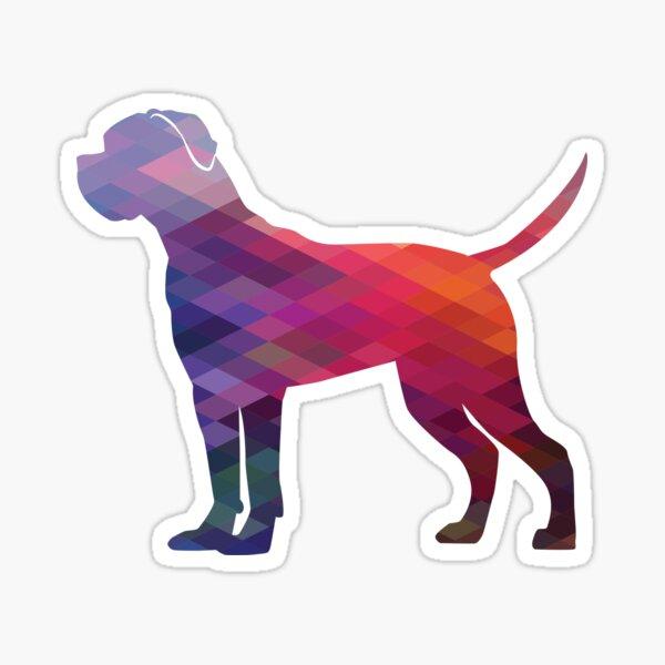 Cane Corso Dog Breed Silhouette Geometric Pattern in Purple Sticker