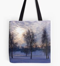 Three tree snow scene Tote Bag