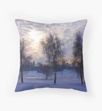 Three tree snow scene Throw Pillow